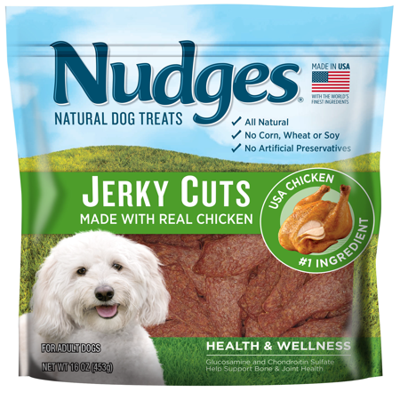 - Nudges Health and Wellness Chicken Jerky Dog Treats, 16 Oz