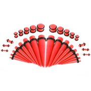 Glow Tapers with Plugs Ear Stretching Kit Thirty Six Pieces Red
