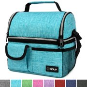 OPUX Deluxe Thermal Insulated Dual Compartment Lunch Bag for Girls, Boys | Double