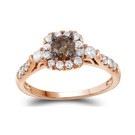 14kt Rose Gold Womens Round Brown Diamond Solitaire Bridal Wedding Engagement Ring 3/4
