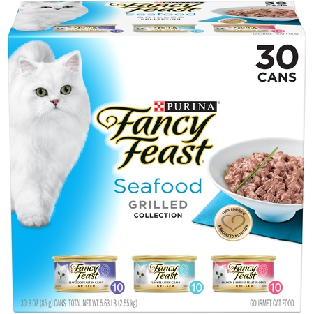 (30 Pack) Fancy Feast Gravy Wet Cat Food Variety Pack, Seafood Grilled Collection, 3 oz.