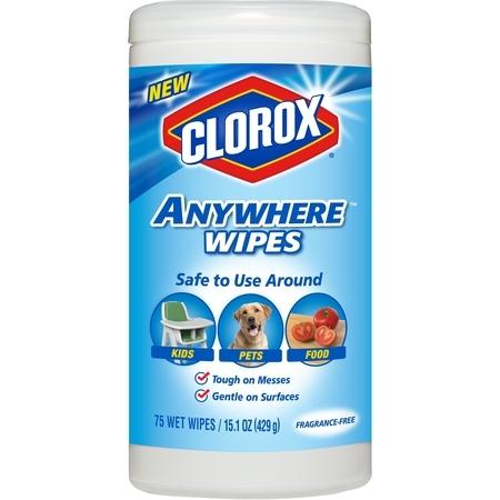 Clorox Anywhere Hand Sanitizer - Clorox Anywhere Wipes, Bleach Free Cleaning Wipes - Fragrance-Free, 75 ct