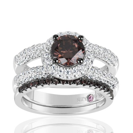 Chocolate Wedding Ring (Sterling Silver Brown Chocolate and White Cubic Zirconia 2-Piece Engagement)