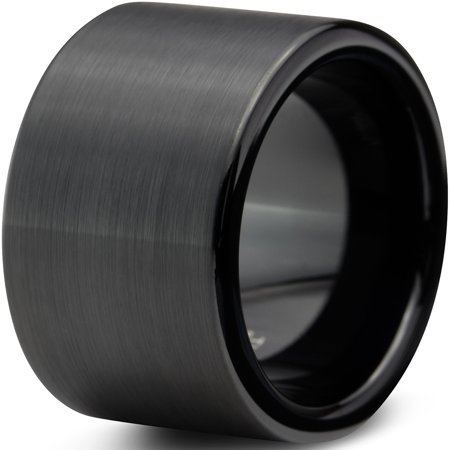 12mm Band Ring - Tungsten Wedding Band Ring 12mm for Men Women Comfort Fit Black  Pipe Cut Brushed Lifetime Guarantee