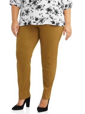 Lifestyle Attitudes Women's Plus Size Pull On Career Pant with Tummy Control
