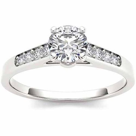Half Bezel Solitaire (1/2 Carat T.W. Diamond Solitaire 14kt White Gold Engagement Ring )