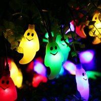 Qedertek Halloween string lights Solar String Lights 30 Led Ghost Outdoor Waterproof for Garden Patio Yard Home LED Christmas Lights Parties(Multicolor)