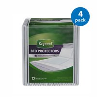 (4 Pack) Depend Incontinence Bed Protectors, Disposable Underpad, Overnight Absorbency, 12 Count