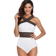 7657520150 US Sexy Ladies Girls Women Monokinis Swimsuit Tankini One Piece Swimwear  Beachwear Bathing Suit Black White