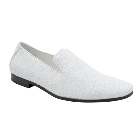 Men Smoking Slipper Metallic Sparkling Glitter Tuxedo Slip on Dress Shoes Loafers White 7 - Tux Shoes