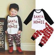 cd566aa64c46 Toddler Kids Baby Boys Girls Christmas Clothes Long Sleeve Tops Shirt  Legging Pants Outfit Set