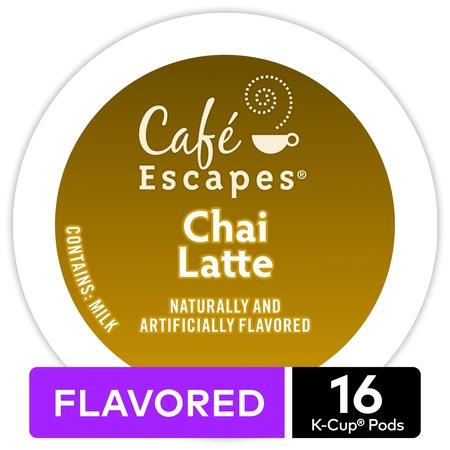 Café Escapes Chai Latte, Keurig K-Cup Pods, Contains Milk, 16ct (Home Cafe Pods)