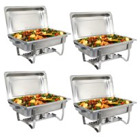 Zeny Upgraded 8 Qt Stainless Steel Chafer, Full Size Chafer, Chafing Dish w/Water Pan, Food Pan, Alcohol Furnace and Lid (Pack of 4)