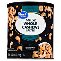 Great Value Deluxe Salted with Sea Salt Whole Cashews, 16 Oz.