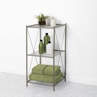 Zenna Home 3-Tier Floor Shelf, Satin Nickel