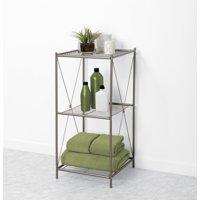 Zenna Home 3-Tier Floor Shelf, Satin Nickel