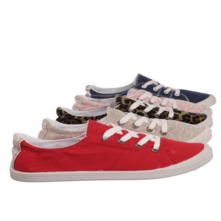 Comfort01 by Forever Link, Vintage Flexible Rubber Sneaker - Women Canvas Comfort Bendable