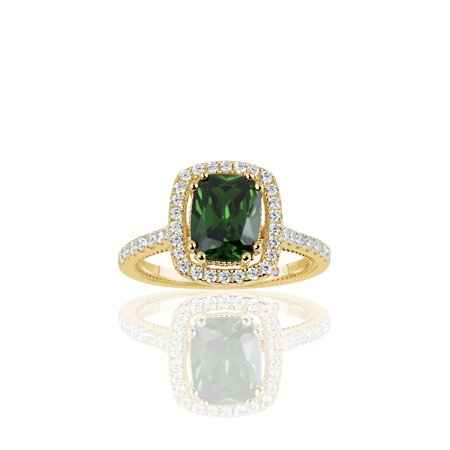Golden Sterling Silver Elongated Cushion Cut Green Cubic Zirconia Solitaire Engagement Ring - Glow In The Dark Engagement Ring
