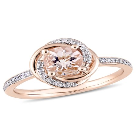 White Gold Diamond Swirl Ring - Tangelo 4/5 Carat T.G.W. Morganite and 1/6 Carat T.W. Diamond 10kt Rose Gold Swirl Ring