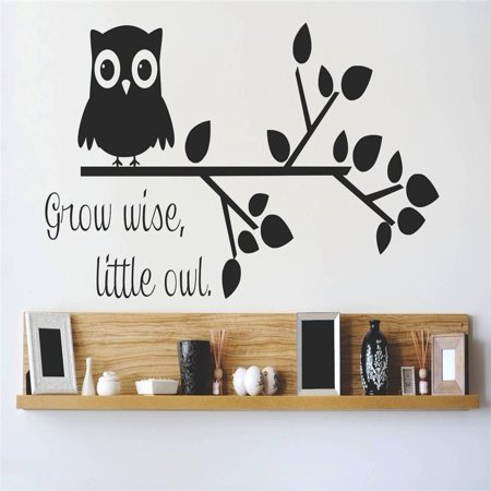 Custom Wall Decal Vinyl Sticker : Grow Wise Little Owl Quote Home Living Room Bedroom Decor 8x20