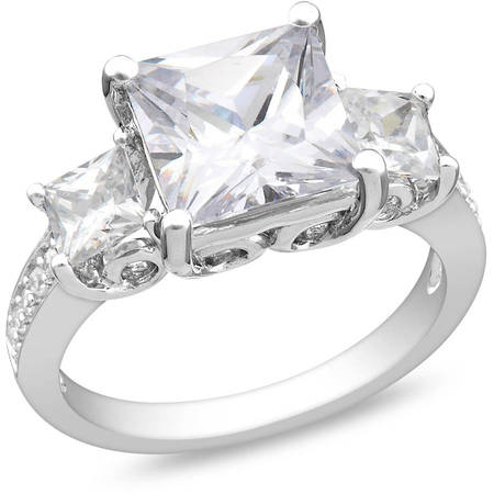 6-5/8 Carat T.G.W. Square Cubic Zirconia Sterling Silver Three Stone Engagement Ring ()