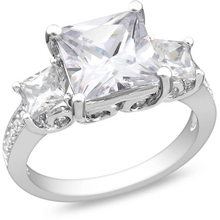 6-5/8 Carat T.G.W. Square Cubic Zirconia Sterling Silver Three Stone Engagement Ring 3 Stone Si2 Ring