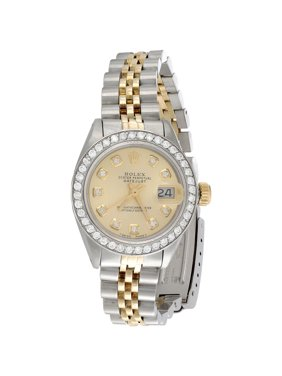 Ladies 18K / Steel Rolex DateJust Jubilee 6917 Diamond Watch Champagne Dial 1 CT.