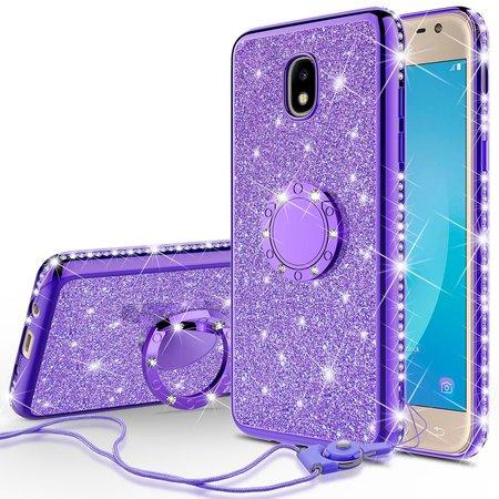 Case Glitter Stars (Samsung Galaxy J7 2018,J7v 2nd Gen,J7 Refine,J7 Aero Case,J7 Top,J7 Aura,J7 Star Case,Cute Girls Women Glitter Phone Case Bling Diamond Bumper Ring Stand Thin Soft Sparkly, Purple)