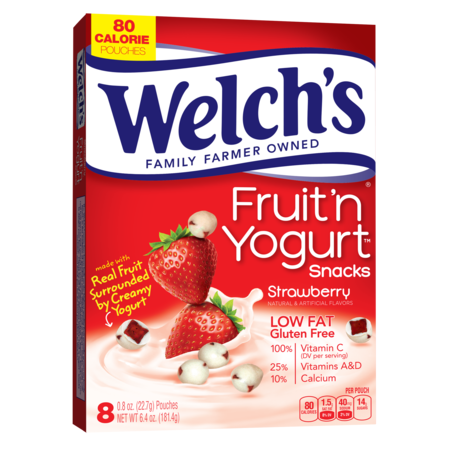 (3 Pack) Welch's Fruit 'N Yogurt Strawberry Snacks, 0.8 oz, 8 - Healthy Fun Snacks For Halloween