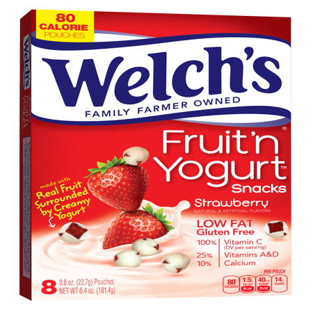 (3 Pack) Welch's Fruit 'N Yogurt Strawberry Snacks, 0.8 oz, 8 ct - Halloween Fruit Snacks