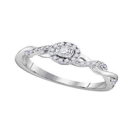 10kt White Gold Womens Round Diamond Solitaire Twist Bridal Wedding Engagement Ring 1/5 Cttw (Diamond Solitaire Twist Ring)