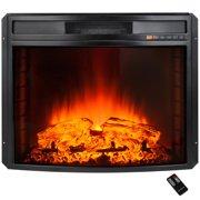 "AKDY FP0058 28"" Black Electric Firebox Fireplace Heater Insert Curve Glass Panel W/Remote"