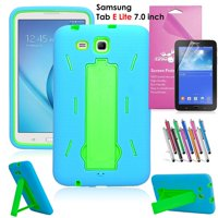 Samsung Galaxy Tab E Lite 7.0 Case, EpicGadget Heavy Duty Rugged Impact Hybrid Case with Build In Kickstand Protection Cover For Galaxy Tab E Lite 7 Inch Tablet T113 + Screen Film+ Pen (Blue/Green)