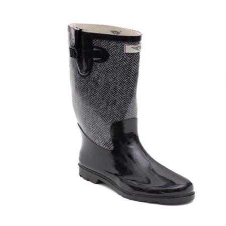 Women Rubber Rain Boots with Cotton Lining, Chevron Jacket