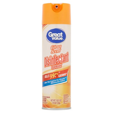 - (2 Pack) Great Value Disinfectant Spray, Citrus Scent, 19 oz