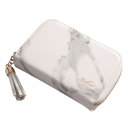 Card Holder Wallet for Women by Zodaca Fashion Small Leather Card Holder Zip Coin Pouch Purse Cluth Mini Wallet 10-Slot for ID Credit Card - White Marble ()