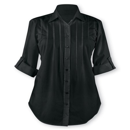 Women's Pintuck Button Front Tunic Top, Large, Black
