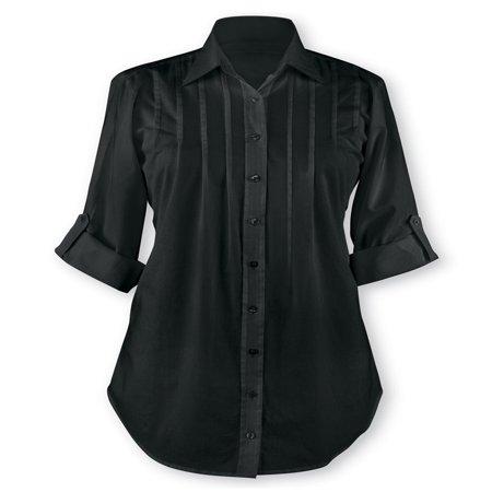 Pintuck Denim Shirt (Women's Pintuck Button Front Tunic Top, Large,)
