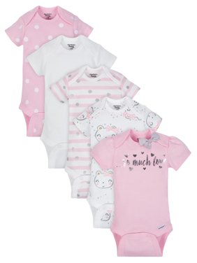 Organic Cotton Short Sleeve Onesies Bodysuits, 5pk (Baby Girls)