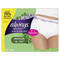 Always Discreet, Incontinence Underwear for Women, Maximum Protection, XL, 26 Count
