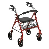 Drive Medical Four Wheel Rollator Rolling Walker with Fold Up Removable Back Support, Red
