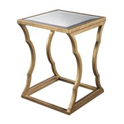 Dimond Home Metal Cloud End Table in Antique Gold Leaf and Mirror