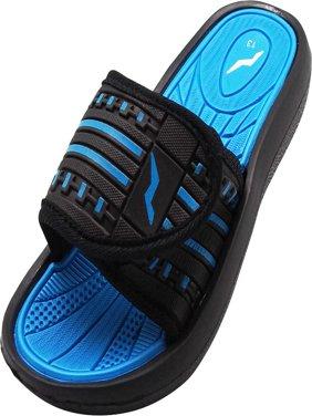 Norty Boys Summer Comfort Casual Slide Flat Strap Shower Sandals Slip On Shoes, 40345 Black-Blue / 2MUSLittleKid