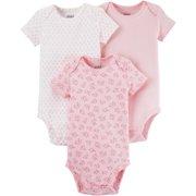 1fdf1e20e Child of Mine by Carter s Newborn Baby Girl Basic Short Sleeve 3 Pack  Bodysuit