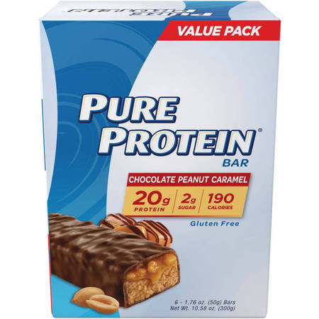 Full Bar Diet Bars (Pure Protein Bar, Chocolate Peanut Caramel, 20g Protein, 6 Ct)
