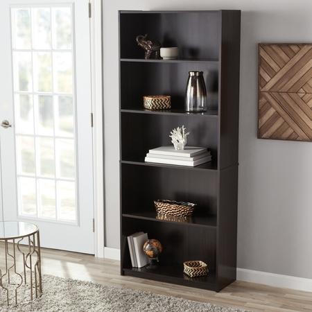mainstays 71 5 shelf standard bookcase multiple finishes. Black Bedroom Furniture Sets. Home Design Ideas