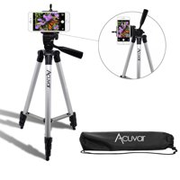 "Acuvar 50"" Inch Aluminum Camera Tripod and Universal Smartphone Mount For all iPhone, Samsung and Most Smartphones"