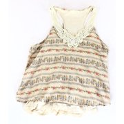 a19ee6adb3fe39 Lush NEW Beige Women s Size Small S Floral-Printed Crochet-Trim Blouse