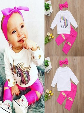 NEW 3Pcs Toddler Baby Girl Unicorn Top T-shirt+Pants Leggings Clothes Outfit Set