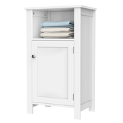 Bathroom Kitchen Floor Storage Cabinet with Single Door and Adjustable Shelf White